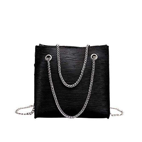 hsy Frauen Solid Color Kette wildes Temperament Einfache Messenger Bag Umhängetasche Closures Travel Umstands Maternal Peque Coathanger Große Wicker (Color : Black)