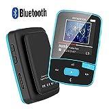 MP3-Player mit Bluetooth, 8 GBit-Bluetooth-MP3-Player mit Clip, unterstützt FM-Radio, erweiterbarer Mikro-SD-Steckplatz, unterstützt 64 GBit Blau