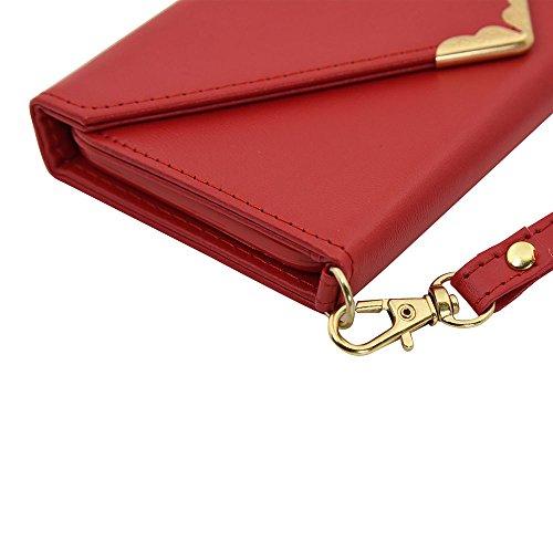 iPhone Case Cover Solid Color Case V Style Fermeture Enveloppe Patron PU Leather Wallet Case Avec Sangle De Main Pour IPhone 7 (4.7 Pouces) ( Color : Black , Size : IPhone 7 ) Red