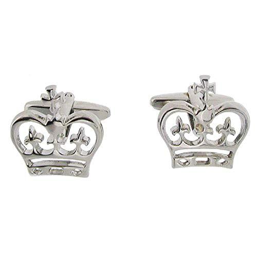 Artamis Boutons de Manchette Crown en Métal Argenté avec Boîte de Présentation