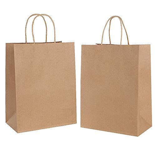 Gaoyong 30 STK Papiertüten,Geschenktüten mit Henkel,Papiertragetaschen,Braune Papiertüte,Partytüten aus Papier Für Lebensmittel Backen Einkaufen Merchandise Boutique Einzelhandel (verdicken 130gsm)