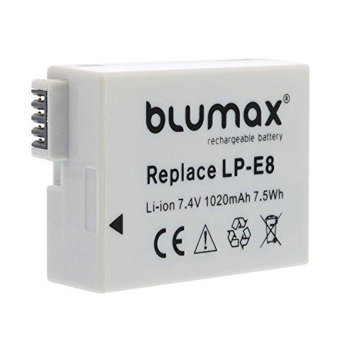 Blumax Kamera Akku für Canon LP-E8 passend zu EOS 550D 600D 650D 700D / EOS Kiss X4 X5 X6i X7 / Digital Rebel T2i T3i T4i T5i