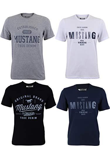 MUSTANG 4er Pack Herren T-Shirt mit Frontprint und Rundhalsausschnitt - Motivmix, Größe:3XL, Farbe:Farbmix (P15)