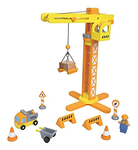 Lelin Wooden Crane & Construction Set Childrens Creative Pretend Play