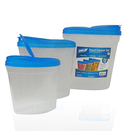 stor-all Lösungen Küche Zubehör Speisen, Keeper BPA frei Kunststoff sortiert Größe Lebensmittel Spender mit Pop Offene Deckel, transparent/blau