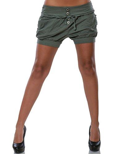 Damen Shorts Chino Hot-Pants Kurze Sommer Hose Luftige Stoffhose in angesagten Farben No 15655, Farbe:Khaki;Größe:40 / L (Khaki Bermuda)