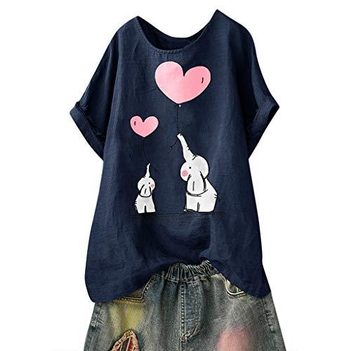 Andouy Damen Mode Lustige Muster Tees Beiläufige Feste Gedruckte Lose Flügelhülsen Gr.40-54 Übergroße T-Shirt Tops(M(42).Marine-Elefant)