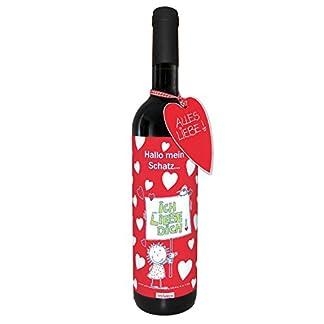 Wein-Ich-liebe-dich-Valentinstag-love-trockener-Rotwein-aus-Spanien100-Tempranillo-Valdepenas-2015-STEINBECK-Weihnachten-Geschenk-Mitbringsel-Herz-Schatz-Hochzeitstag-Liebe