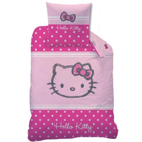 CTI 041070 Bettwäsche Hello Kitty Lola, Baumwolle Biber, 135 x 200 cm und 80 x 80 cm