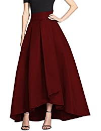 CoutureBridal® Damen Maxirock Sommerrock Baumwolle und Leinen Normallack  Rock Langrock 5… ccf105bb69