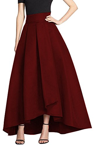 CoutureBridal® Damen Rock Vintage Elegant Faltenrock Asymmetrisch Abendrock A Linie Satin Weinrot EU34
