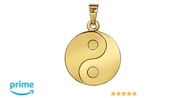 CLEVER SCHMUCK Goldener Anh/änger Yin Yang /Ø 16 mm matt und gl/änzend 333 Gold 8 Karat
