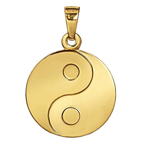 CLEVER SCHMUCK Goldener Anhänger Yin Yang Ø 16 mm matt und glänzend 333 Gold 8 Karat