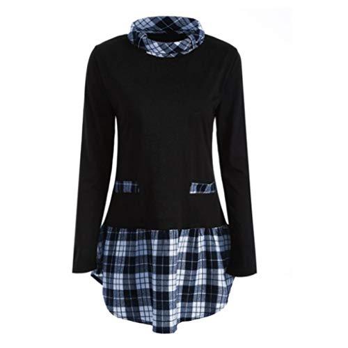 (Damen Pullover Bluse Langarm Plaid Tops Bluse T-Shirts Langarm Shirts Plaid Patchwork Plus Size Herbst Winter LianMengMVP)
