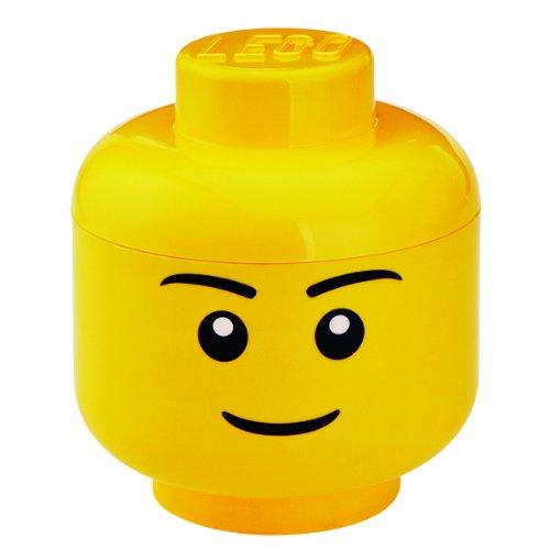 Lego Scatola Testa Ragazzo Porta Oggetti Piccola Impilabile, 2,0 L, Giallo