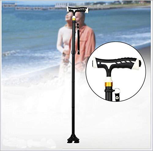 SHOWGG Life Crutch Komfortable T Griffe Cane, verstellbare Ultra stabile Krücken LED-Taschenlampe leichte tragbare Hand Cane für Männer Frauen