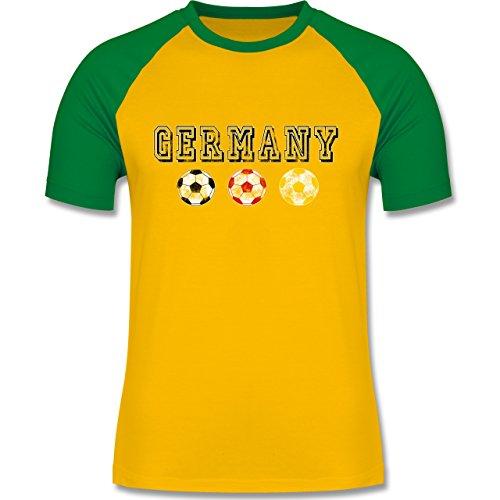 EM 2016 - Frankreich - Germany mit Fußbälle Vintage - zweifarbiges Baseballshirt für Männer Gelb/Grün
