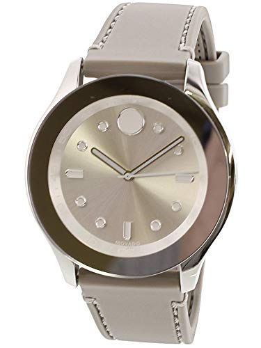 Movado Women's Grey Silicone Band Steel Case Swiss Quartz Silver-Tone Dial Analog Watch 3600412