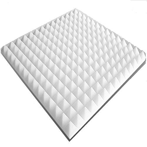20 plaques de mousse acoustique env. 50 x 50 x 3 cm - Blanc, env. 5 m², Pyramide Mousse Mousse alvéolée