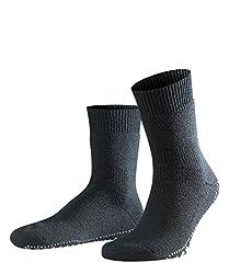 FALKE Herren Stoppersocken Homepads, Baumwolle/Wollmischung, 1 Paar, Schwarz (Black 3000), Größe: 43-46