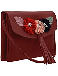 JFL Fancy Stylish Party Wear Women's Sling Bag With Flower For Ladies And Girls