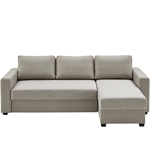 Atlantic Home Collection DUBLIN Schlafsofa, Polsterecke mit Federkern und Bettfunktion, Stoff, Beige, 150 x 234 x 89 cm