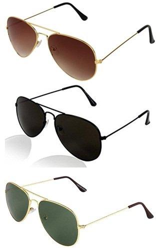 Sheomy Aviator Women\'s Sunglasses -(55 Green, Black & Brown)