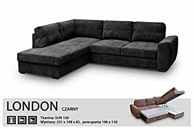 Corner Sofa Bed-london Black - Fabric-extra Soft- Elastic-quality Silicone Foam by Megan Furniture