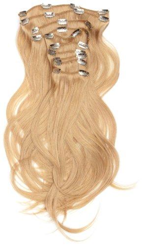 Love Hair Extensions - LHE/A1/QFC/120G/10PCS/18/16 - 100 % Cheveux Naturels Lisses et Soyeux - 10 Pièces Clippants en Extensions - Couleur 16 - Blond Sahara - 46 cm
