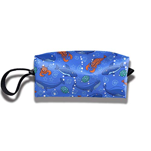 Sharks and Whales Pattern Print Classic Cosmetic Pouch Bag Interesting Jewelry Pouch Travel Cosmetic Bag Pouch with Zipper - Metal Locking Tool