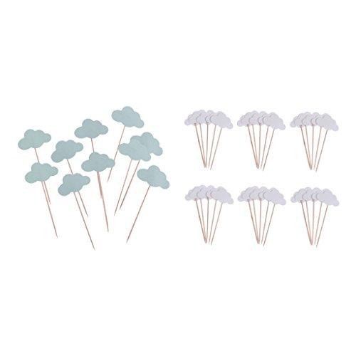 Sharplace 100 Stücke Cake Toppers Cupcake Toppers Kuchendeckel für Baby Jungen und Mädchen Taufe Party ( Blau + weiß Wolken Form )