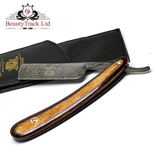 BeautyTrack Vintage Shaving Kit for Real Man, Genuine Wood Handle – Straight Razor – Leather Strop Belt, Handmade Razors Shave Ready Safety Razor Manual Shaving.Pouch (American Wood Razor)