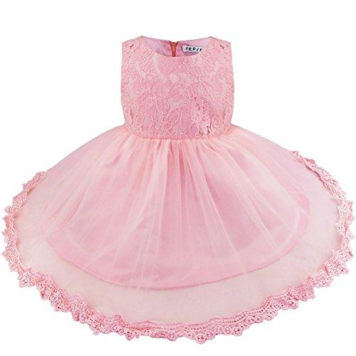 FEESHOW Baby Mädchen Kleid Deluxe Spitze Blumenmädchenkleid Ärmellos Babykleid mit einer großen Schleife am Rücken Rundhals Kleid Hochzeit Geburtstag Rosa 62-68