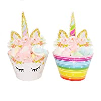 Pack of 24 Unicorn Birthday Party Supplies Double Sided Cake Cupcake Toppers Unicorn Horn Cake Decoration Kit for Girl Birthday Baby Shower and Wedding