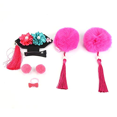 6 Teile/satz Chinesischen stil Kind Haarspange Quasten Cheongsam Haarnadeln Chinesische Blumenmädchen Haarnadeln Zubehör für Babys(Rosen-rote Kugel)