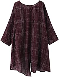 Moda Camisa a Cuadros para Mujer Vintage Cuello Redondo 3 4 Manga Blusa con  Dobladillo c4a3248e3a0