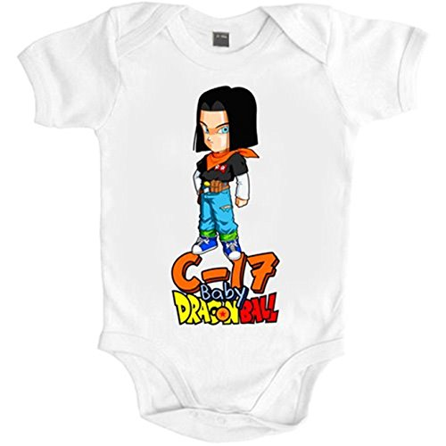 Body bebé Dragon Ball baby androide C-17 - Blanco, 6-12 meses