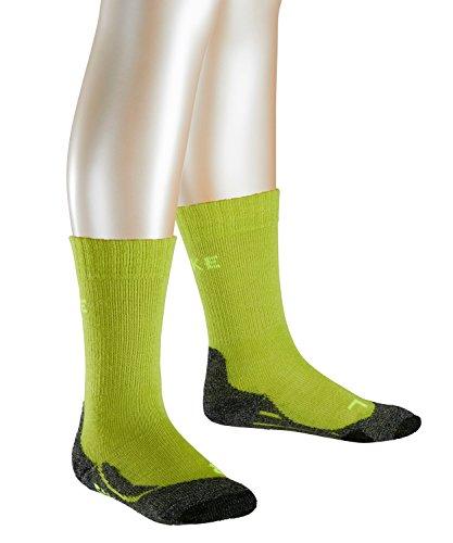 FALKE TK2 Kinder Trekkingsocken / Wandersocken - gelb, Gr. 31-34, 1 Paar, Merinowolle-Mix, feuchtigkeitsregulierend, dämpfende Wirkung, mittelstarke Polsterung