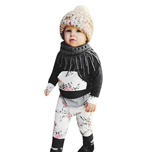 (Halloween Babykleidung, 2pcs Kleinkind Säugling Baby Junge Mädchen Kleidung Satz Blumen Hoodie Tops + Hosen Outfits By QinMM (0-24Monat) (6-12M, Dunkelgrau))