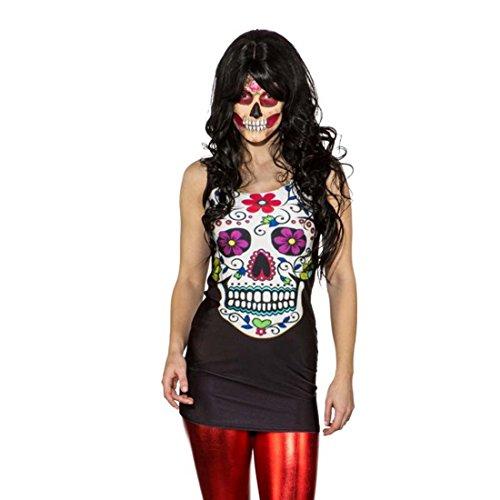 Muertos Sexy Sugar Skull Kleid S/M 34 – 40 Calavera Long Shirt La Catrina Stretchkleid Halloween Kostüm Damen Damenkostüm Tag der Toten (Catrina Kostüme)