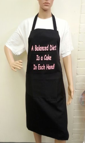 Novelty Aprons For Women | A Balanced Diet Is a Cake In Each Hand! | Ideal Gift For Her | Black/Pink