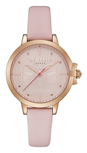 Ladies Womens Rose Gold Tone Ted Baker Quartz Battery Watch on Pink Leather Strap, Beth. TE50280001