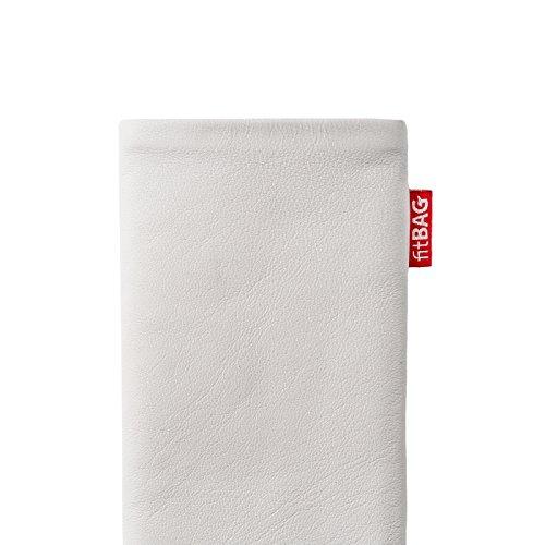 fitBAG Groove Gold Handytasche Tasche aus feinem Folienleder Echtleder mit Microfaserinnenfutter für Apple iPhone 6 / 6S / 7 mit Apple Silikon Case Beat Weiß