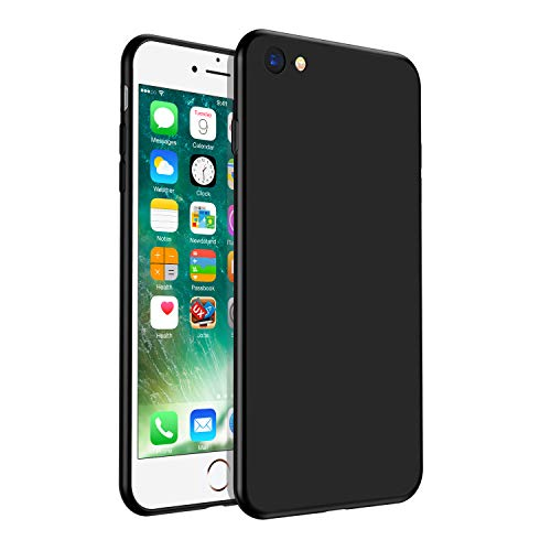 Whew Hülle Kompatibel iPhone 6 Plus, Schutzhülle Kompatibel iPhone 6s Plus, Anti-Fingerabdruck, Anti-Scratch Fein Matt FederLeicht Silikon TPU Handyhüllen Case Cover-Schwarz