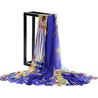 Leisial Mujeres Pañuelos de Gasa Bufanda de Playa Delgado Bufanda del Mantón Toalla de Playa Sol Impresión Flor Gasa Protector Solar Verano Primavera (Naranja)