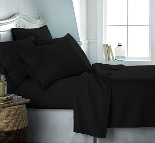 100% EGYPTIAN COTTON 2 PIECE 500 THREAD COUNT HOTEL QUALITY DUVET COVER BEDDING BED SET WITH PILLOWCASES (Single, Black)
