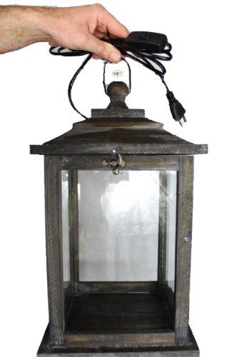 Holzlaterne, mit Beleuchtung 220V, Laterne aus Holz mit Holz - Deko KL-OFOS-SCHWARZGEBEIZT, edel schwarz gebeizt dunkel