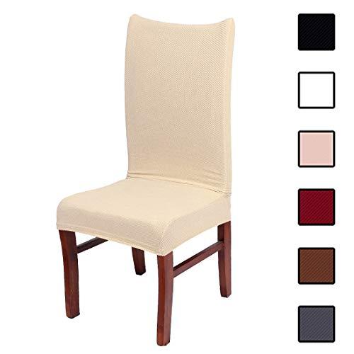 Colorxy Stretch Esszimmerstuhl-Schonbezüge - Spandex Stoff Abnehmbarer Stuhlschutz Jacquard gestrickt Home Decor Set von 4 Stück beige - 4 Parson Stühle