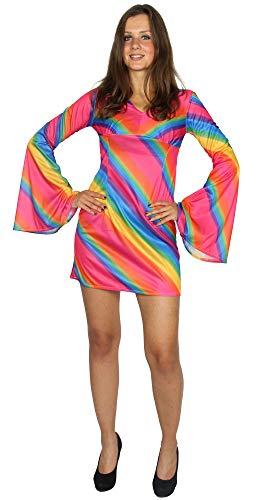 genbogen Kleid für Damen - Größe XS bis XL - Hippiekostüm Hippie Kostüm 70s Disco Größe XL ()
