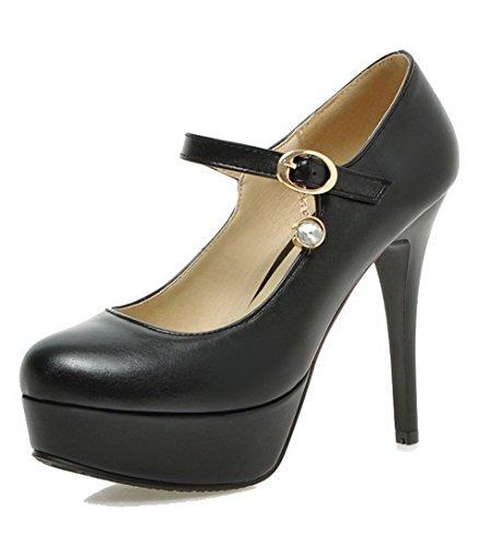 AllhqFashion Femme Boucle Pu Cuir Rond à Talon Haut Couleur Unie Chaussures Légeres Noir